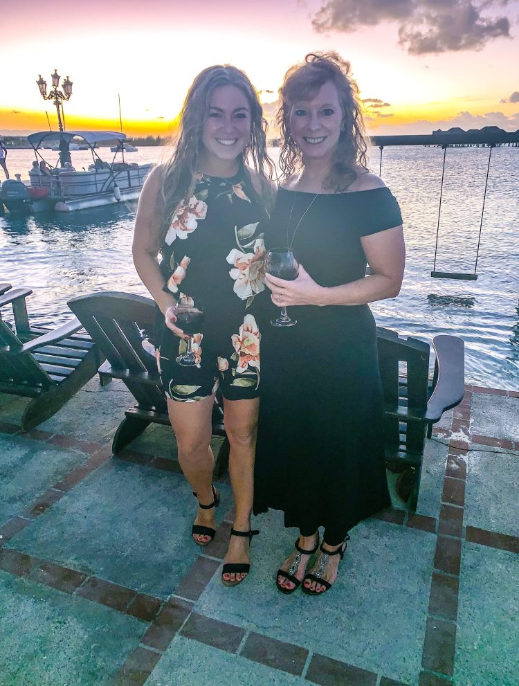 ladies at sunset at Sandals Royal Caribbean